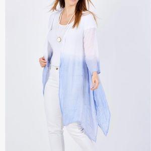 THREADZ White & Blue Dip Dye Viscose Kimono
